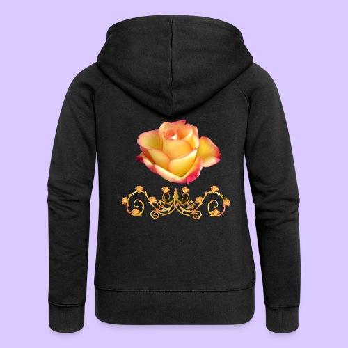 orange Rose, Ornament, Rosen, Blumen, Blüten, edel - Frauen Premium Kapuzenjacke