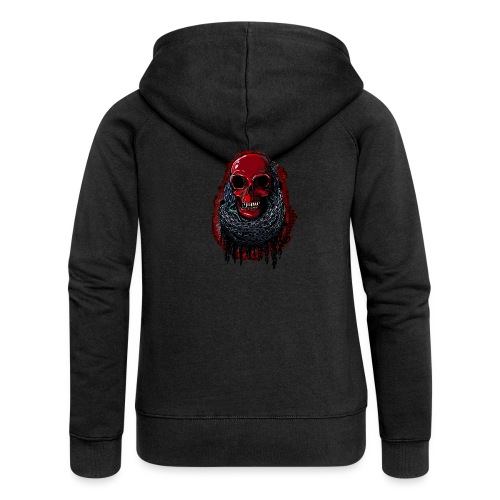 Red Skull in Chains - Women's Premium Hooded Jacket
