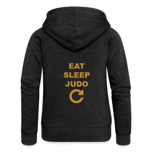 Eat sleep Judo repeat - Rozpinana bluza damska z kapturem Premium