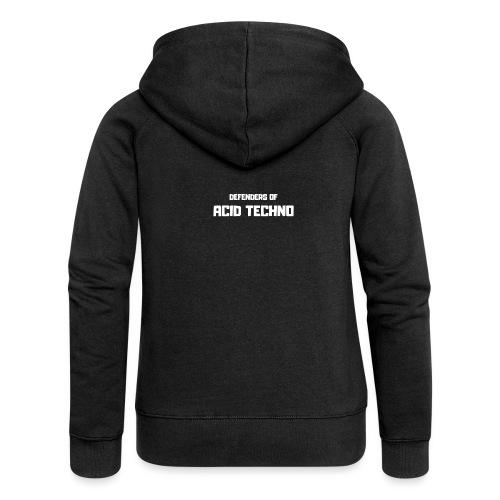 Defenders of Acid Techno [White Print] - Women's Premium Hooded Jacket