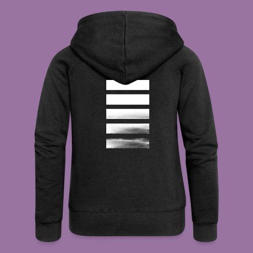 Stripes Horizontal White - Felpa con zip premium da donna