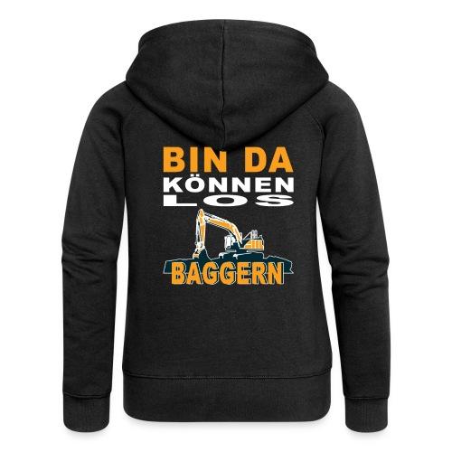 Bin da   Bagger Baustelle Baumaschine Geschenk - Frauen Premium Kapuzenjacke