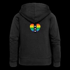 Hart Amsterdam in regenboog kleuren - Vrouwenjack met capuchon Premium