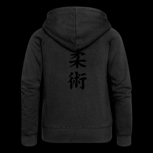 ju jitsu - Rozpinana bluza damska z kapturem Premium
