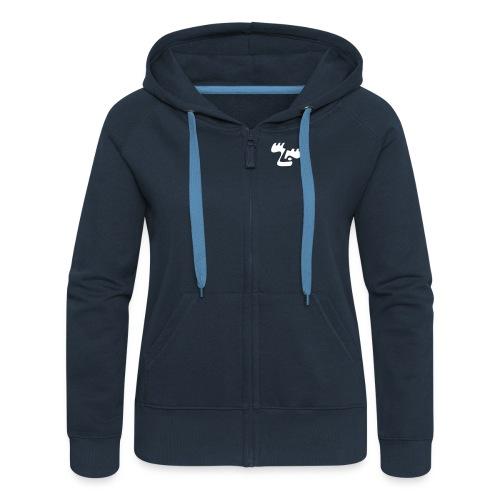 moose logo2 lilla - Frauen Premium Kapuzenjacke