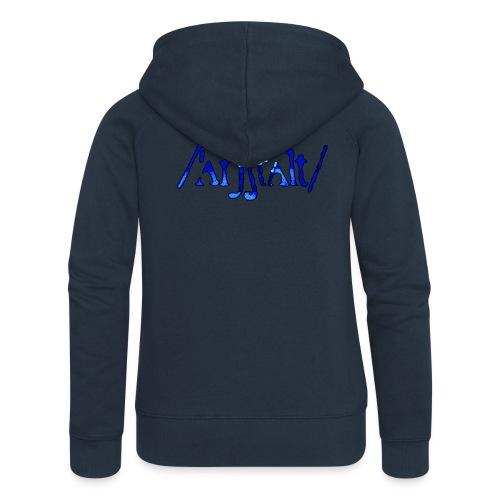 /'angstalt/ logo gerastert (blau/schwarz) - Frauen Premium Kapuzenjacke