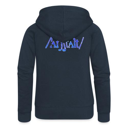 /'angstalt/ logo gerastert (blau/weiss) - Frauen Premium Kapuzenjacke
