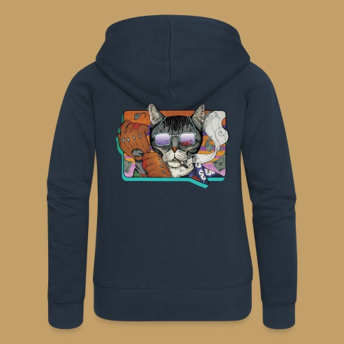 Crime Cat in Shades - Rozpinana bluza damska z kapturem Premium