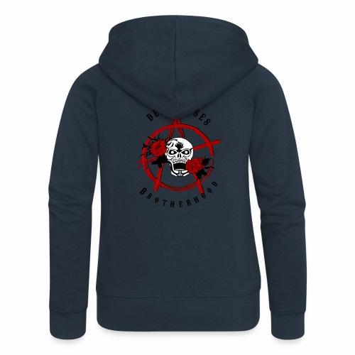 Dead Roses Anarchy Skull Black - Women's Premium Hooded Jacket