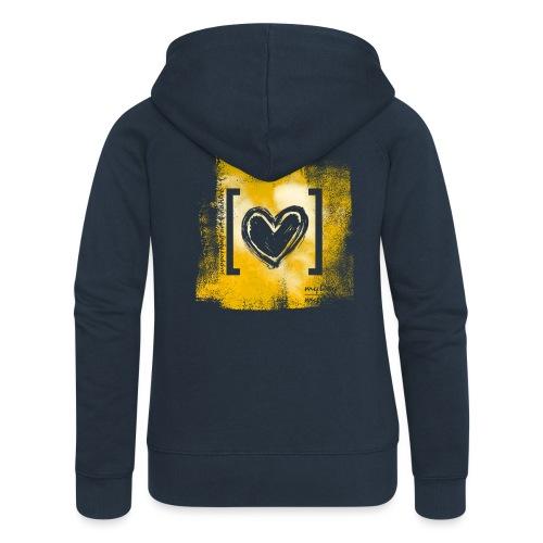 Herz / gelb - Frauen Premium Kapuzenjacke