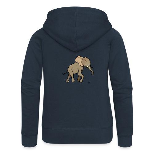 Słoń afrykański - Rozpinana bluza damska z kapturem Premium