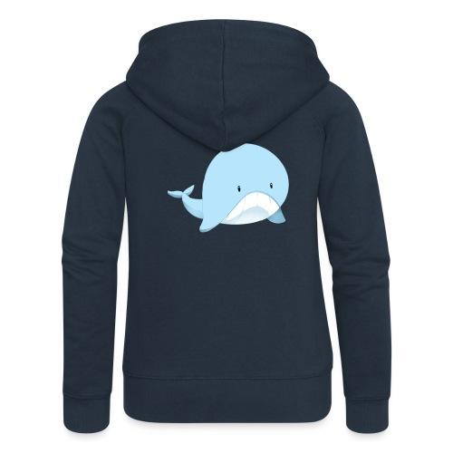 Whale - Felpa con zip premium da donna