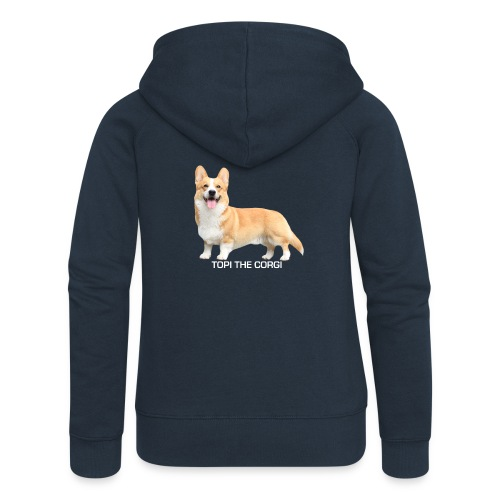 Topi the Corgi - White text - Women's Premium Hooded Jacket
