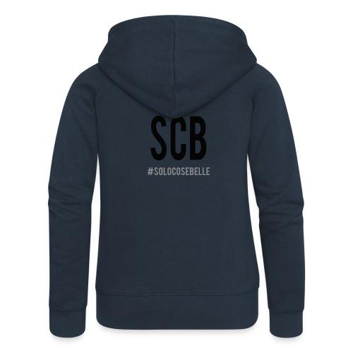 scb scritta nera - Felpa con zip premium da donna