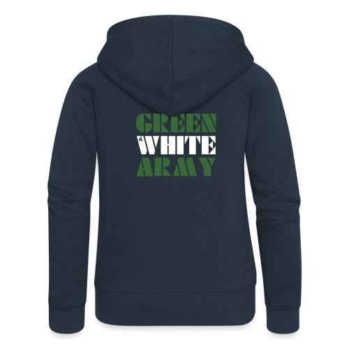 GREEN & WHITE ARMY _STENCIL_3 - Women's Premium Hooded Jacket