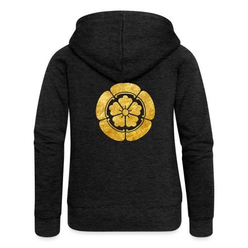 Oda Mon Japanese samurai clan faux gold on black - Women's Premium Hooded Jacket