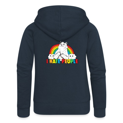Fluff Off Rainbow Cat Hates People - Women's Premium Hooded Jacket