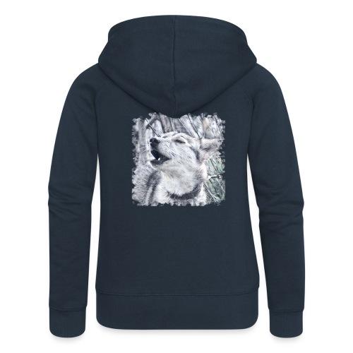 Jaulender Husky - Frauen Premium Kapuzenjacke