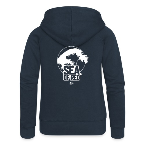 Sea of red logo - white small - Women's Premium Hooded Jacket