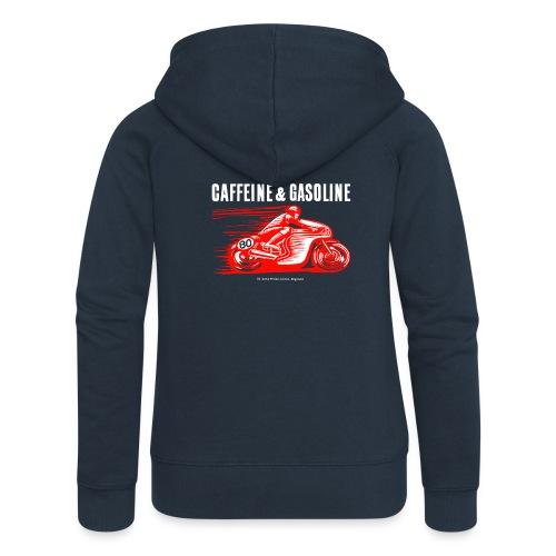 Caffeine & Gasoline white text - Women's Premium Hooded Jacket