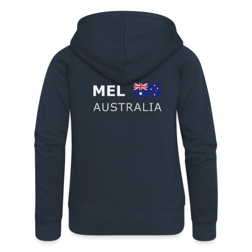 MEL AUSTRALIA white-lettered 400 dpi - Women's Premium Hooded Jacket