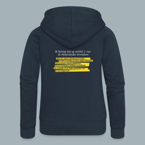 Nederlandse Grondwet T-Shirt - Artikel 1 - Vrouwenjack met capuchon Premium