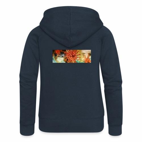 Koronawirus, Coronavirus - Rozpinana bluza damska z kapturem Premium