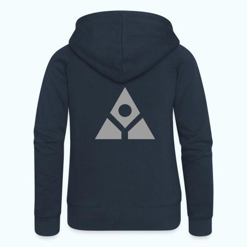 Sacred geometry gray pyramid circle in balance - Women's Premium Hooded Jacket