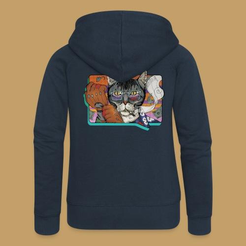 Crime Cat - Rozpinana bluza damska z kapturem Premium