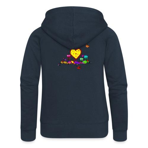 Blumengruß mit Herz - Frauen Premium Kapuzenjacke