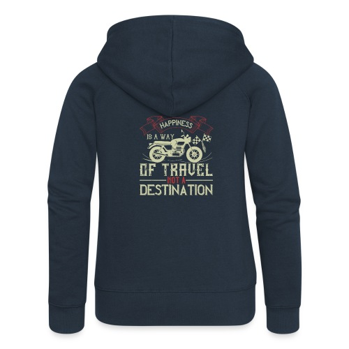 Happiness is away from travel not a destination. - Women's Premium Hooded Jacket
