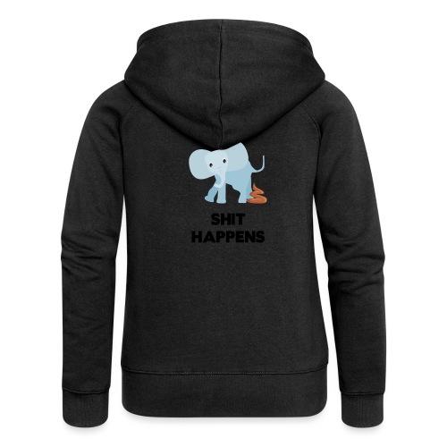olifant met drol shit happens poep schaamte - Vrouwenjack met capuchon Premium