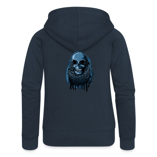 SKULL in CHAINS - deepBlue - Women's Premium Hooded Jacket