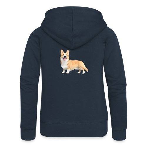 Topi the Corgi - Sideview - Women's Premium Hooded Jacket