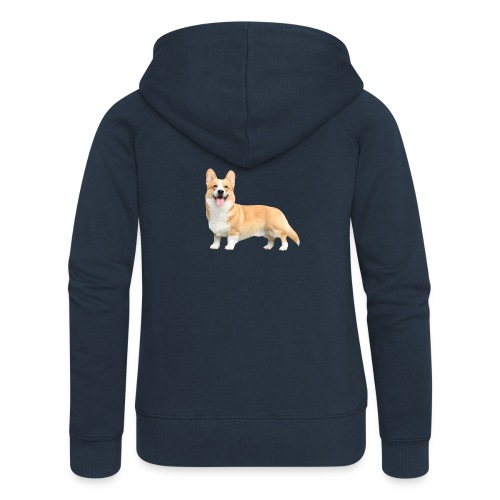 Topi the Corgi - Sideview - Women's Premium Hooded Jacket