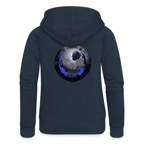 Rigormortiz Metallic Blue-Black Design - Women's Premium Hooded Jacket