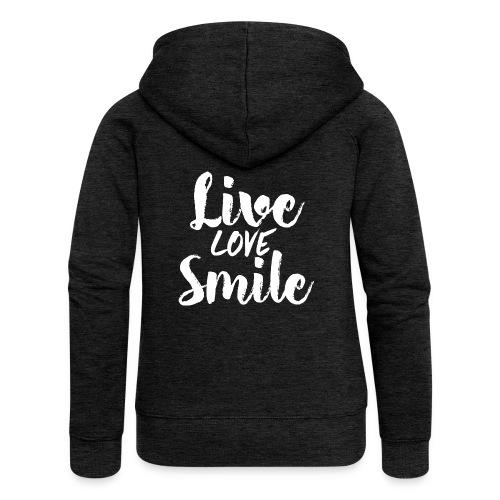 liove love smile - Felpa con zip premium da donna
