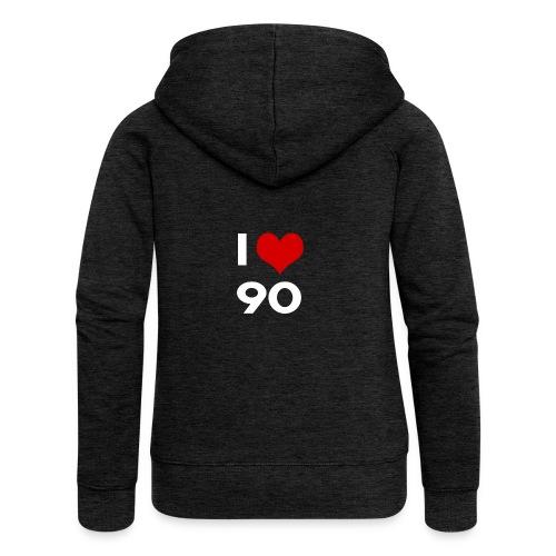 I love 90 - Felpa con zip premium da donna