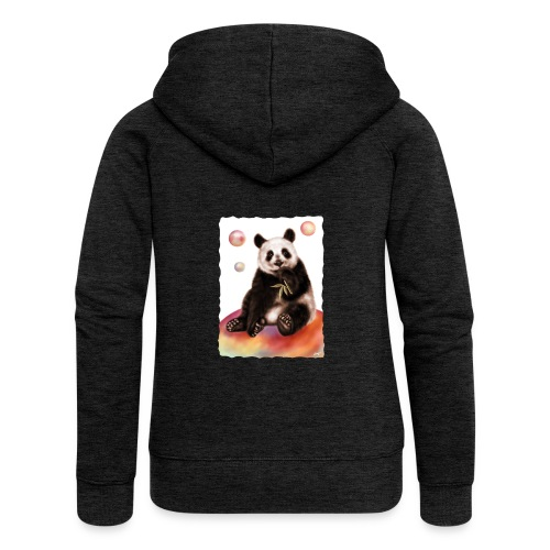 Panda World - Felpa con zip premium da donna