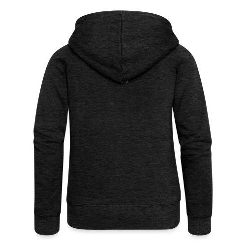Luckimi logo white small circle on sleeve or back - Women's Premium Hooded Jacket