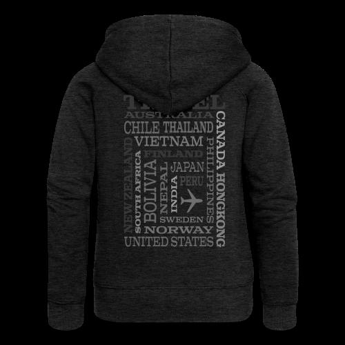 Travel Places Gray design - Naisten Girlie svetaritakki premium