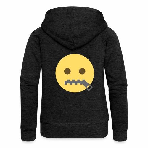 emoji bocca chiusa - Felpa con zip premium da donna