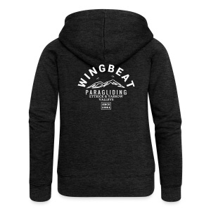 wingbeat logo - big - on back - in white - Women's Premium Hooded Jacket