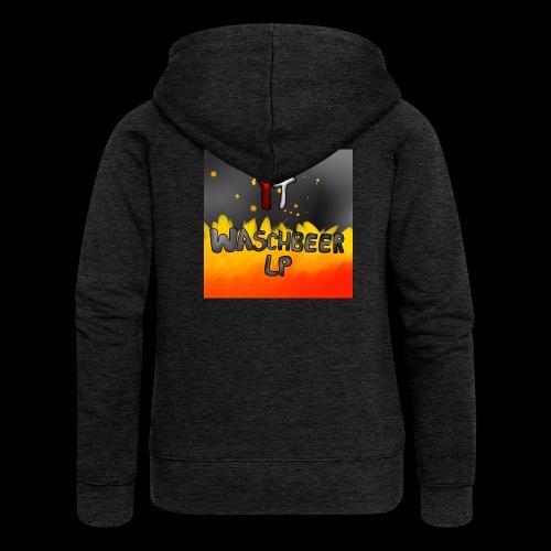 Waschbeer Design 2# Mit Flammen - Frauen Premium Kapuzenjacke