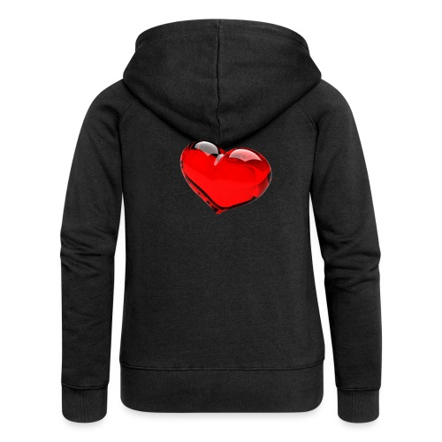serce 3D - Rozpinana bluza damska z kapturem Premium