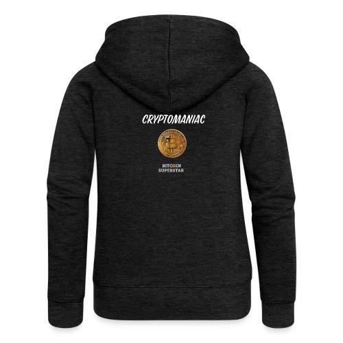 Cryptomaniac - Felpa con zip premium da donna