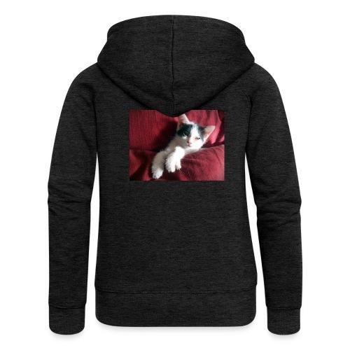 Katze in rot - Frauen Premium Kapuzenjacke