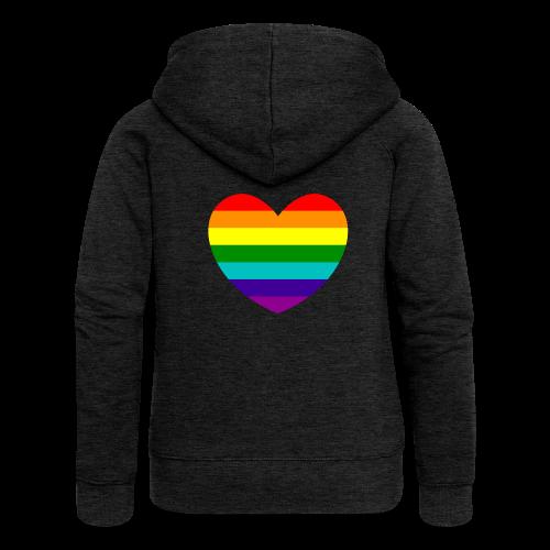 Hart in regenboog kleuren - Vrouwenjack met capuchon Premium