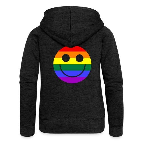 Regenbogen Smilie 1 - Frauen Premium Kapuzenjacke