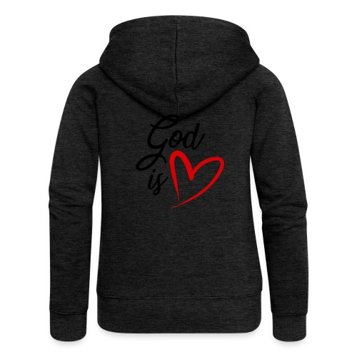 God is love 2N - Felpa con zip premium da donna